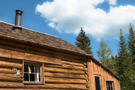 Close-up of old log cabin roof against cloudy sky