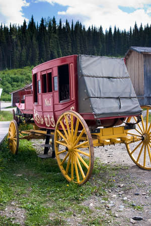 Colorful old vintage western stagecoach from 1800s Stock Photo