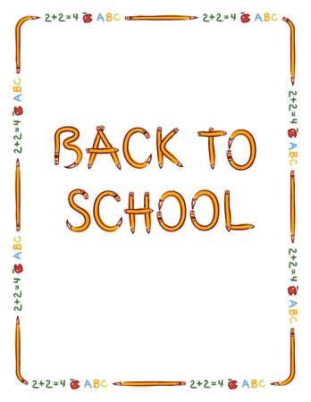 """Potlood, appel en tekst grens te passen 8,5 """"x 11"""", het papier met """"Terug naar School"""", letters gemaakt van potloden"""