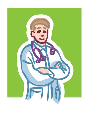 Cartoon illustration of male doctor smiling with stethoscope crossing arms against green background