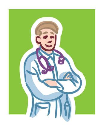 Karikatur Illustration der m�nnlichen Arzt l�chelnd mit Stethoskop Kreuzung Waffen gegen gr�n hintergrund