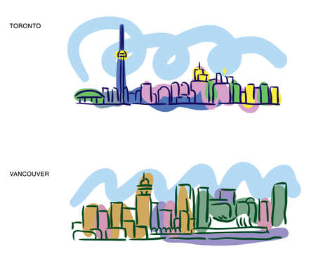 Colorful sketches of Toronto and Vancouver cityscapes Illusztráció
