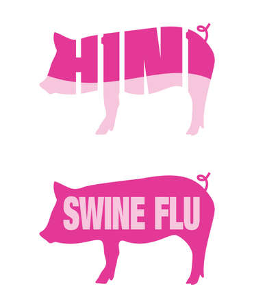 swine flu vaccination: Icons of pigs for Swine flu and H1N1 outbreaks