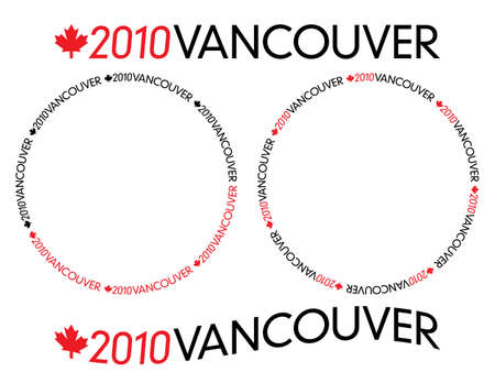 Generic black and red 2010 Vancouver logotype with Canada maple leaf in circular and bended variations