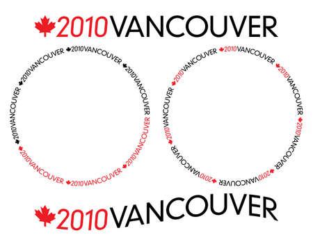 Generic schwarzen und roten Schriftzug mit 2010 Vancouver Kanada Ahornblatt in Kreis-und gebogenen Varianten Illustration