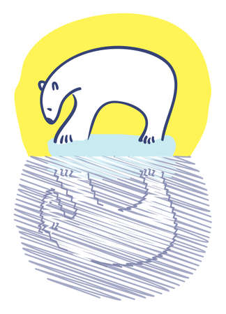 Polar bear standing on small iceberg staring at reflection Stock Vector - 5378606
