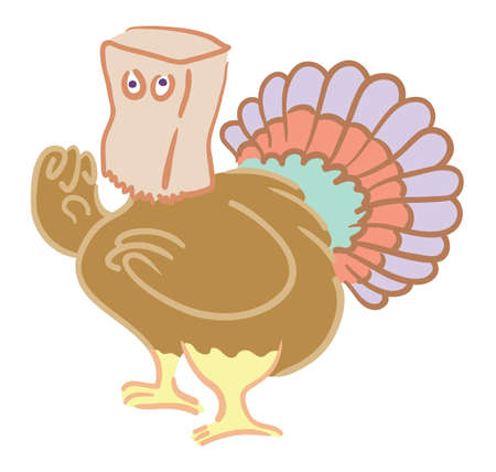 Cartoon turkey hiding with paper bag over its head Vector