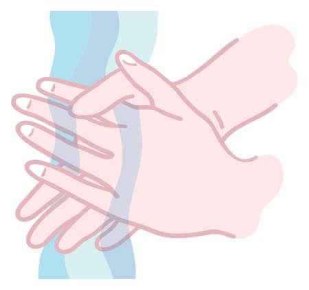 Illustratie van handen worden gewassen onder stromend water