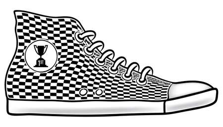Illustration of running shoe with checkered pattern and first place cup race trophy icon Ilustração