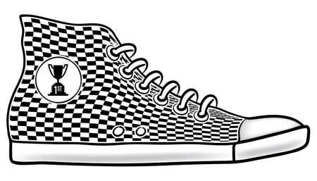 running shoe: Illustrazione della scarpa in esecuzione con un motivo a scacchi e primo posto Coppa gara Trofeo icona