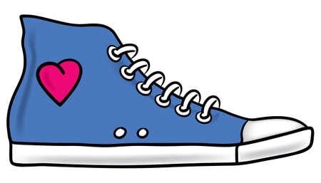 Illustratie van generieke blauwe sportschoen met roze hart en arcering