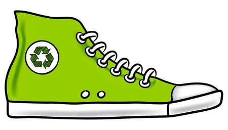running shoe: Illustrazione verde generico di esecuzione scarpa con il simbolo di riciclo di scegliere a piedi invece di guida, per ridurre la tua impronta incoraggiando  Vettoriali