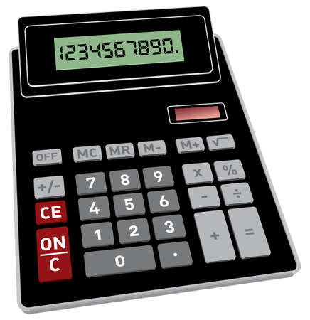Vector illustration of basic black calculator with 3D perspective Illustration