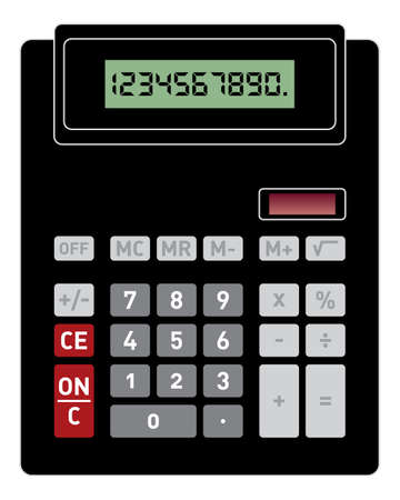 Vector illustration of basic black calculator with front view