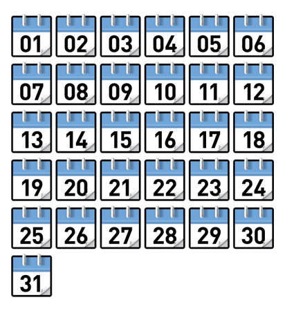 Small generic calendars for all 31 days of a month