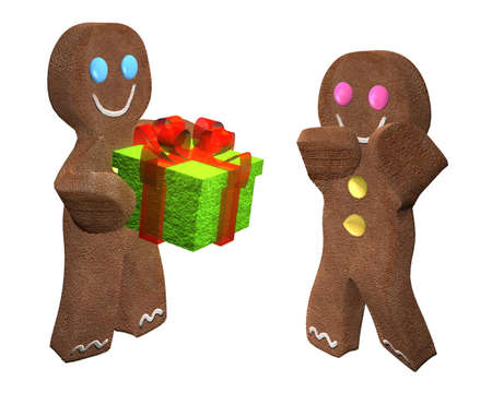 wrap wrapped: 3D rendering of gingerbread man giving a present to a friend