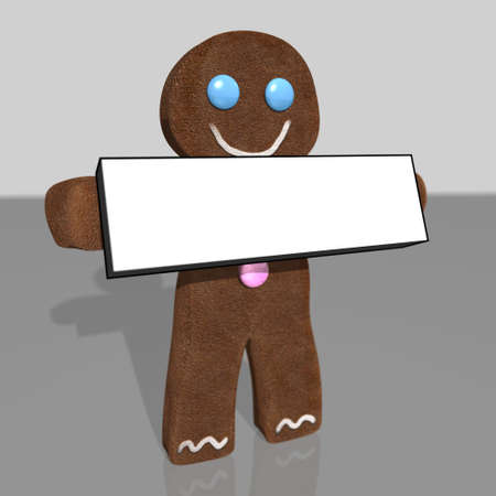3D rendering of gingerbread man holding blank sign Stock Photo