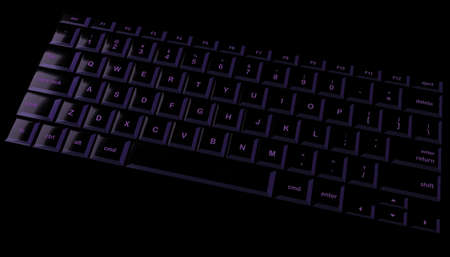 Black and purple shiny laptop keyboard