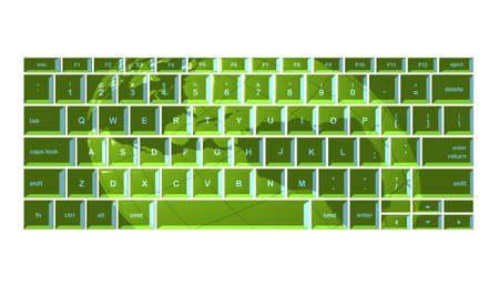 Globus projiziert gr�ne Tastatur
