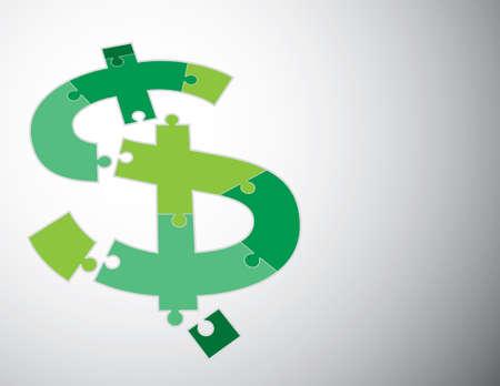 illustration du signe dollar tranchée dans les pièces du puzzle
