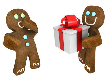 Gingerbread man giving present to friend Stock Photo