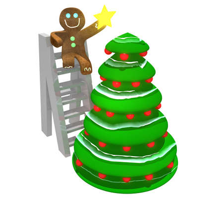 Gingerbread man sitting on ladder holding star while and decorating a Christmas tree