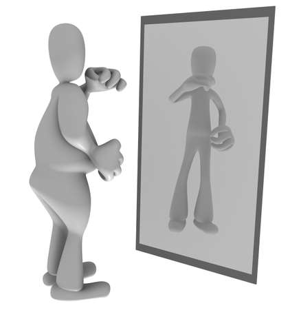 self esteem: Illustration of fat person looking at thin reflection in mirror Stock Photo