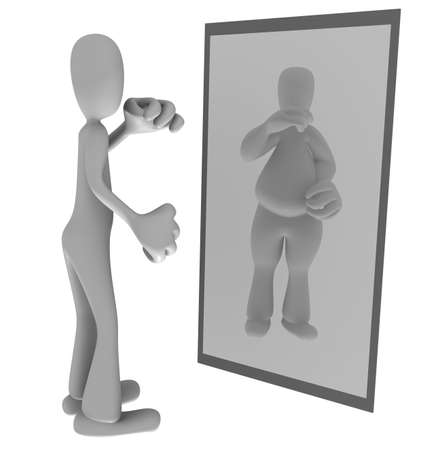 self conscious: Illustration of thin person looking at fat reflection in mirror