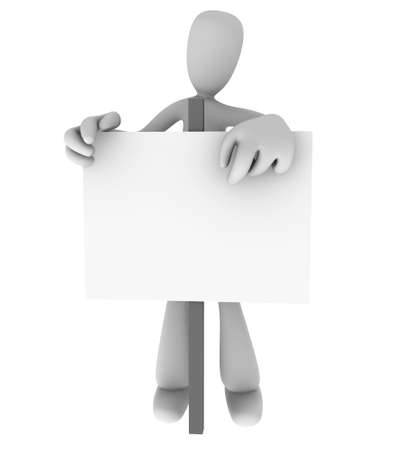 Generic cartoon person standing behind and pointing at blank sign