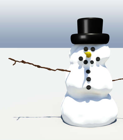 Smiling snowman illustration against simple background with whitespace Stock Photo