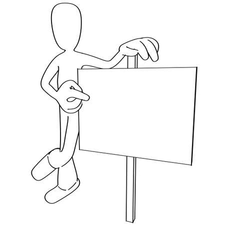 Illustration of cartoon person pointing at blank sign Фото со стока