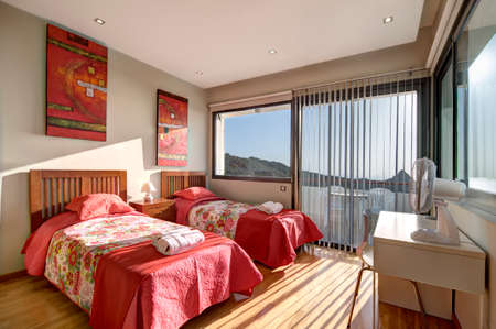 seaview: Bedroom in the modern villa with seaview