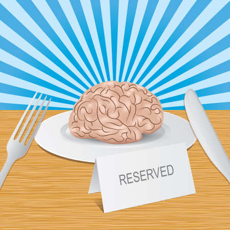 lies: Reserved brain lies on a plate Illustration