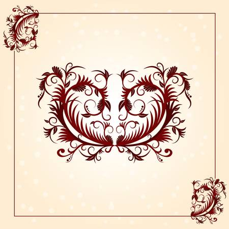 Brown vintage ornament pattern with border Vector