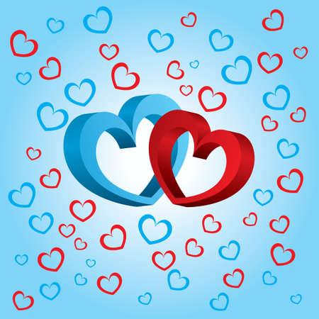 volumetric: Dos corazones volum�tricos en un fondo azul