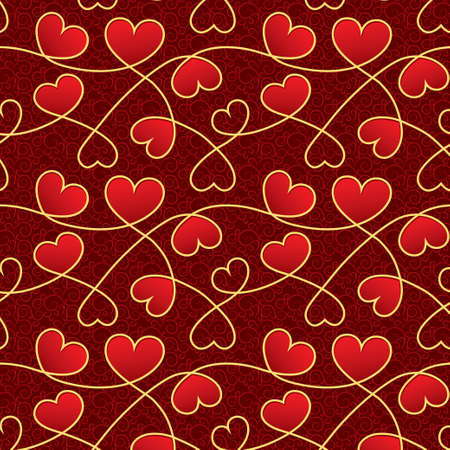 Texture for a Valentine day with red hearts Vector