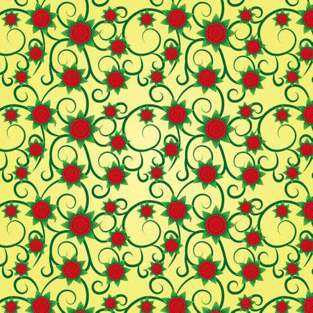 volumetric: Gran fondo floral sin fisuras (textura) con flores volum�tricos. Flores rojas con hojas verdes. Modelo verde floral en el fondo.