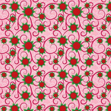 volumetric: Gran rosa seamless floral (textura) con flores volum�tricos. Flores rojas con hojas verdes. Patr�n floral en el fondo.