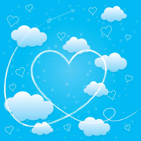 Valentines day card with hearts, arrow and blue volumetric clouds. Trail of Cupid's arrow. Light blue background. Stock Vector - 17471072