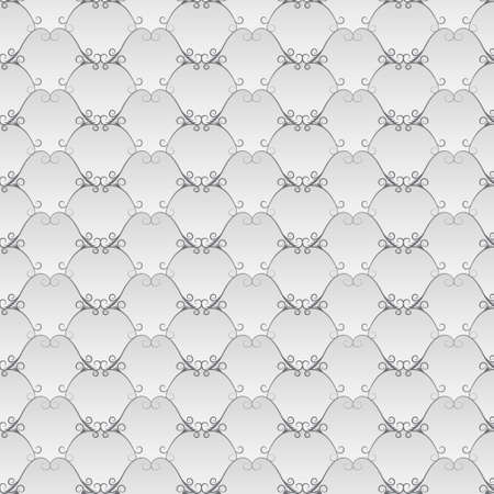 volumetric: Vintage bright background with gray curved lines (seamless texture). Gray floral pattern. Volumetric gradient. Illustration