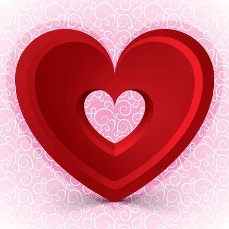 volumetric: Tarjeta del d�a de San Valent�n con el coraz�n grande volum�trica roja. Fondo rosa claro.