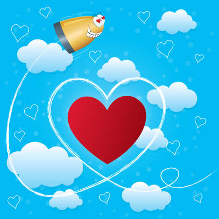 Valentines day card with hearts, arrow and bullet. Trail of Cupid's bullet. Light blue background with clouds. Stock Vector - 17510846
