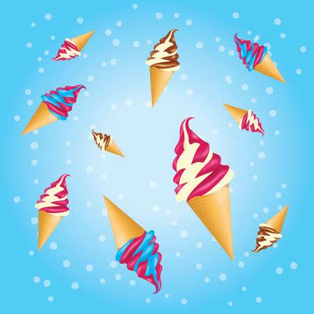 Set of ice creams in a waffle cones Vector