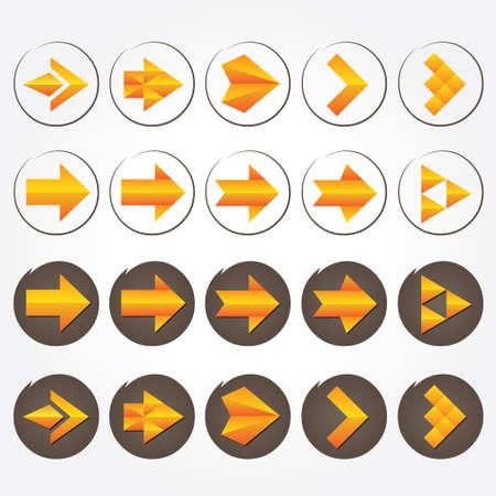 volumetric: Orange Arrow volum�trico flechas signo icon set