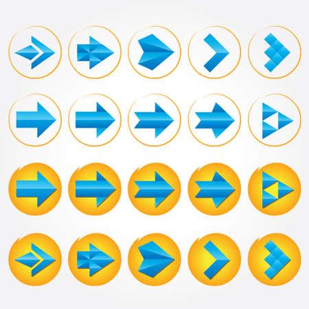 volumetric: Azul volum�trico flechas Arrow icon set signo Vectores