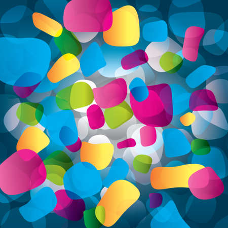 different figures: Colorful abstract background with round objects (geometrical). Different figures (pink, yellow, purple, green, blue). Modern composition. Stock Photo