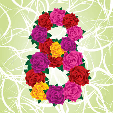 Colorful eight of roses (red, yellow, pink, purple) on a green background. Green leafs. For 8 march. Stock Vector - 17883355
