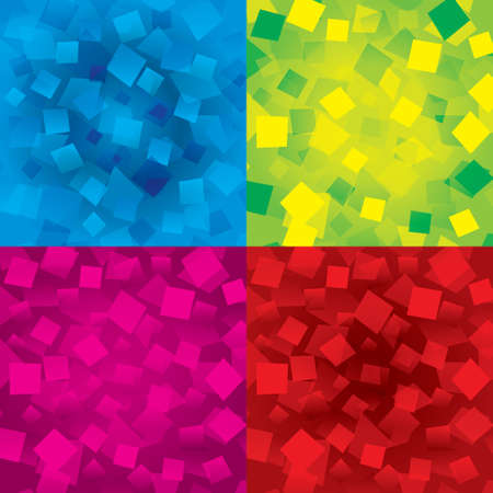 Set of colorful abstract backgrounds with orange rectangles (geometrical). Different figures (yellow, orange). Modern composition. Vector