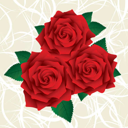 Red roses with green leafs on a light backgorund. Lush red roses. Vector