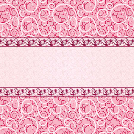 Pink vintage card with floral ornament background. Lines with floral texture (pink, red). photo